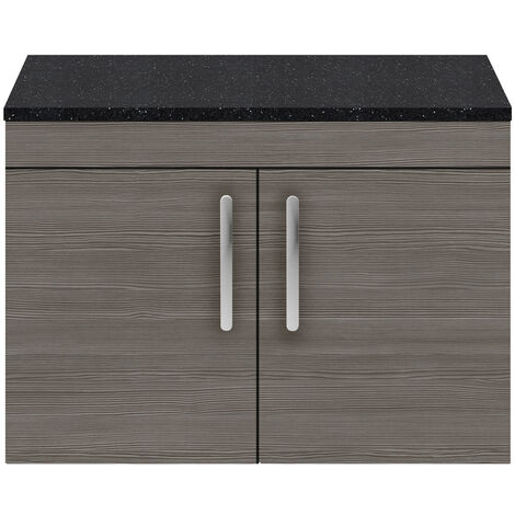 Nuie Athena Wall Hung 2-Door Vanity Unit with Sparkling Black Worktop 800mm Wide - Brown Grey Avola