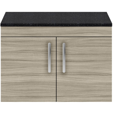Nuie Athena Wall Hung 2-Door Vanity Unit with Sparkling Black Worktop 800mm Wide - Driftwood