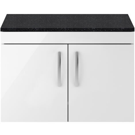 Nuie Athena Wall Hung 2-Door Vanity Unit with Sparkling Black Worktop 800mm Wide - Gloss White