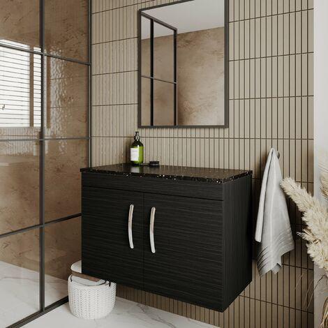 Nuie Athena Wall Hung 2-Door Vanity Unit with Sparkling Black Worktop 800mm Wide - Hacienda Black