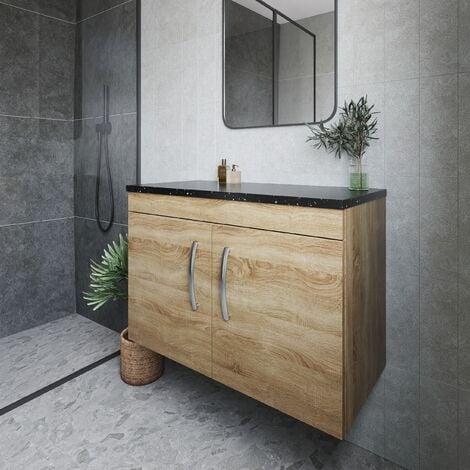 Nuie Athena Wall Hung 2-Door Vanity Unit with Sparkling Black Worktop 800mm Wide - Natural Oak