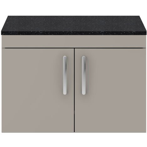 Nuie Athena Wall Hung 2-Door Vanity Unit with Sparkling Black Worktop 800mm Wide - Stone Grey