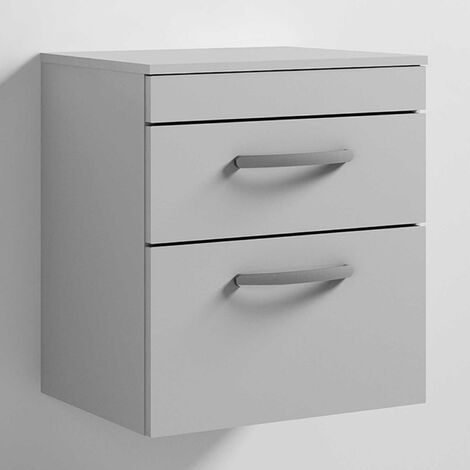 Nuie Athena Wall Hung 2-Drawer Vanity Unit and Worktop 500mm Wide - Gloss Grey Mist