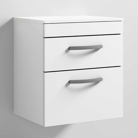 Nuie Athena Wall Hung 2-Drawer Vanity Unit and Worktop 500mm Wide - Gloss White