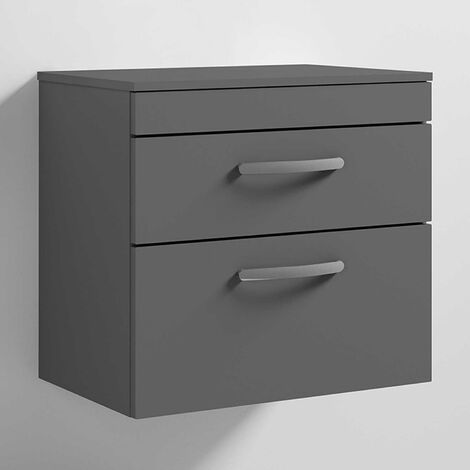 Nuie Athena Wall Hung 2-Drawer Vanity Unit and Worktop 600mm Wide Gloss Grey