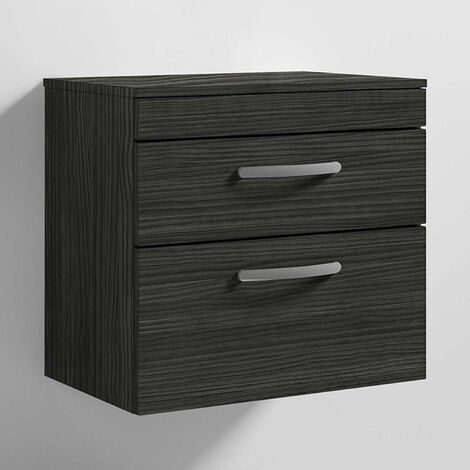 Nuie Athena Wall Hung 2-Drawer Vanity Unit and Worktop 600mm Wide - Hacienda Black