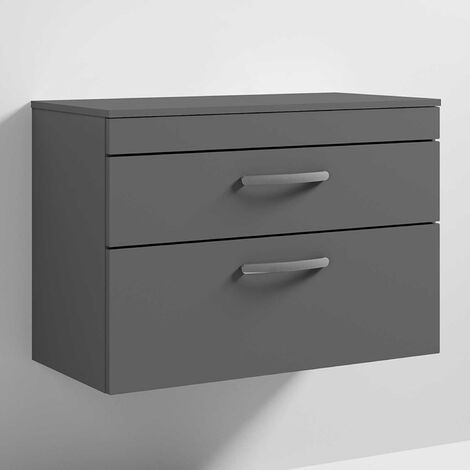 Nuie Athena Wall Hung 2-Drawer Vanity Unit and Worktop 800mm Wide Gloss Grey