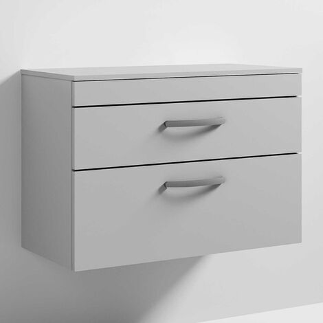Nuie Athena Wall Hung 2-Drawer Vanity Unit and Worktop 800mm Wide - Gloss Grey Mist