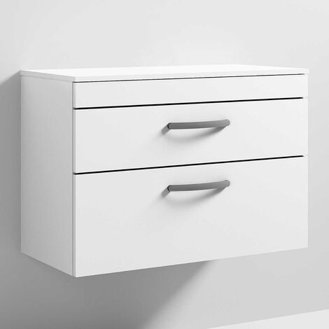 Nuie Athena Wall Hung 2-Drawer Vanity Unit and Worktop 800mm Wide - Gloss White
