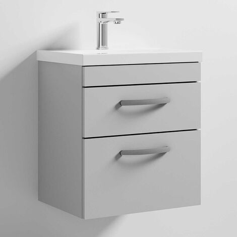 Nuie Athena Wall Hung 2-Drawer Vanity Unit with Basin-1 500mm Wide - Gloss Grey Mist