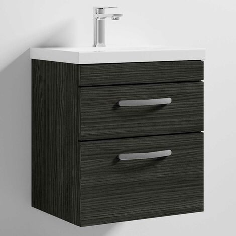 Nuie Athena Wall Hung 2-Drawer Vanity Unit with Basin 1 Hacienda Black - 500mm Wide