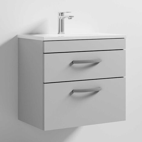 Nuie Athena Wall Hung 2-Drawer Vanity Unit with Basin-2 600mm Wide - Gloss Grey Mist