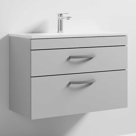 Nuie Athena Wall Hung 2-Drawer Vanity Unit with Basin-2 800mm Wide - Gloss Grey Mist