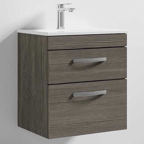 Nuie Athena Wall Hung 2-Drawer Vanity Unit with Basin 2 Brown Grey Avola - 500mm Wide