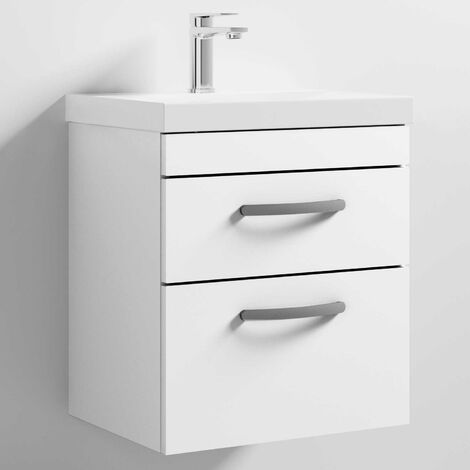 Nuie Athena Wall Hung 2-Drawer Vanity Unit with Basin-3 500mm Wide - Gloss White