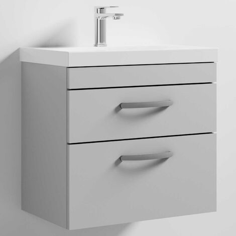 Nuie Athena Wall Hung 2-Drawer Vanity Unit with Basin-3 600mm Wide - Gloss Grey Mist