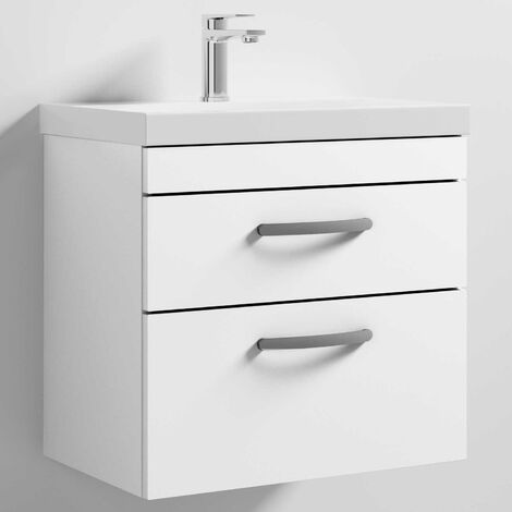 Nuie Athena Wall Hung 2-Drawer Vanity Unit with Basin-3 600mm Wide - Gloss White