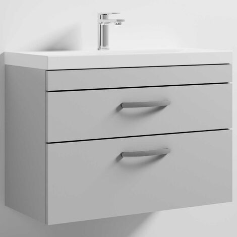 Nuie Athena Wall Hung 2-Drawer Vanity Unit with Basin-3 800mm Wide - Gloss Grey Mist