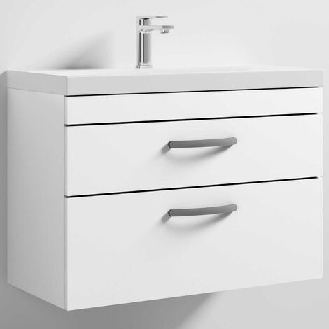 Nuie Athena Wall Hung 2-Drawer Vanity Unit with Basin-3 800mm Wide - Gloss White