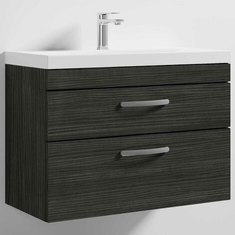 Nuie Athena Wall Hung 2-Drawer Vanity Unit with Basin-3 800mm Wide - Hacienda Black