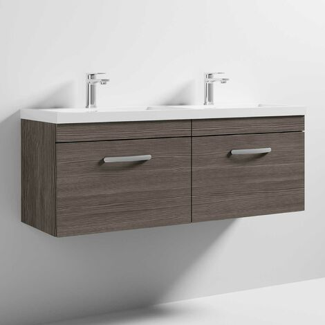 Nuie Athena Wall Hung 2-Drawer Vanity Unit with Double Basin 1200mm Wide - Brown Grey Avola