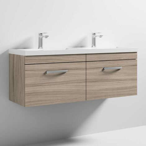 Nuie Athena Wall Hung 2-Drawer Vanity Unit with Double Basin 1200mm Wide - Driftwood