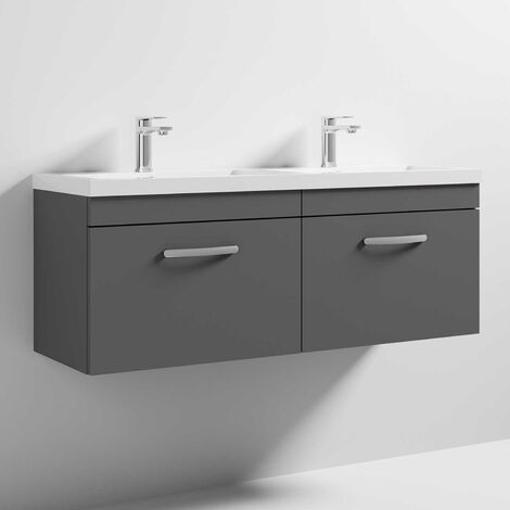 Nuie Athena Wall Hung 2-Drawer Vanity Unit with Double Basin 1200mm Wide - Gloss Grey