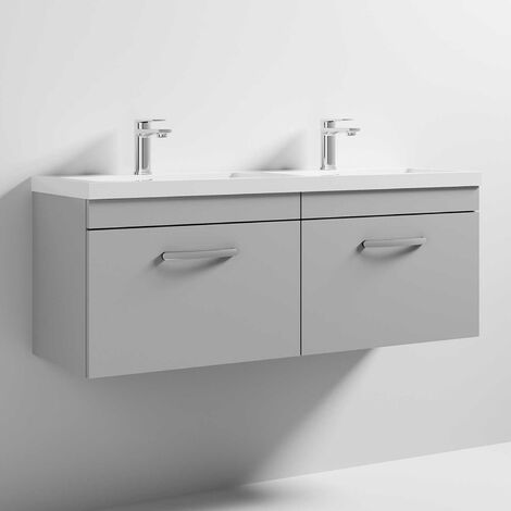 Nuie Athena Wall Hung 2-Drawer Vanity Unit with Double Basin 1200mm Wide - Gloss Grey Mist