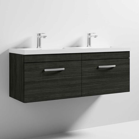 Nuie Athena Wall Hung 2-Drawer Vanity Unit with Double Basin 1200mm Wide - Hacienda Black