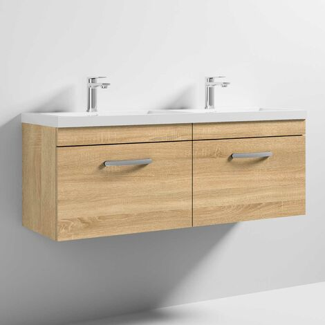 Nuie Athena Wall Hung 2-Drawer Vanity Unit with Double Basin 1200mm Wide - Natural Oak