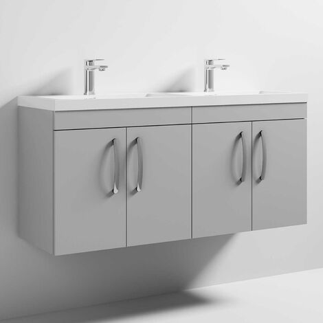 Nuie Athena Wall Hung 4-Door Vanity Unit with Double Basin 1200mm Wide - Gloss Grey Mist