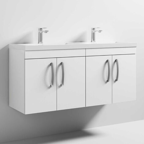 Nuie Athena Wall Hung 4-Door Vanity Unit with Double Basin 1200mm Wide - Gloss White