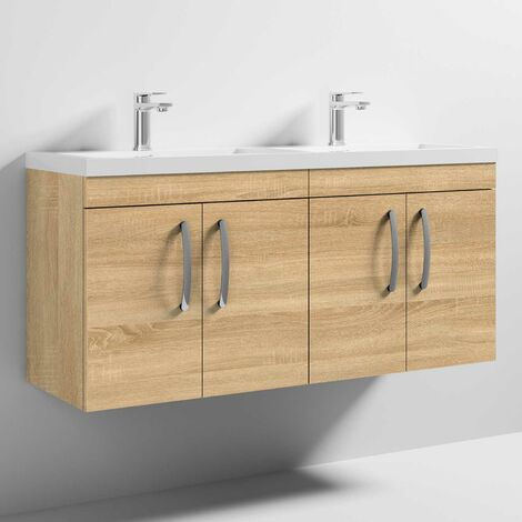 Nuie Athena Wall Hung 4-Door Vanity Unit with Double Basin 1200mm Wide - Natural Oak