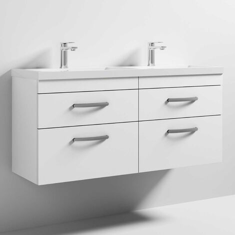 Nuie Athena Wall Hung 4-Drawer Vanity Unit with Double Basin 1200mm Wide - Gloss White