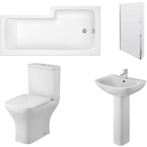 Nuie Ava Complete Bathroom Suite with L-Shaped Shower Bath 1700mm - Left Handed