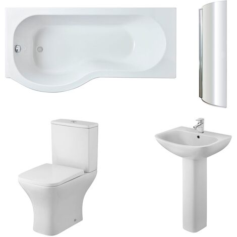 Nuie Ava Complete Bathroom Suite with P-Shaped Shower Bath 1700mm - Left Handed