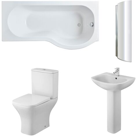 Nuie Ava Complete Bathroom Suite with P-Shaped Shower Bath 1700mm - Right Handed