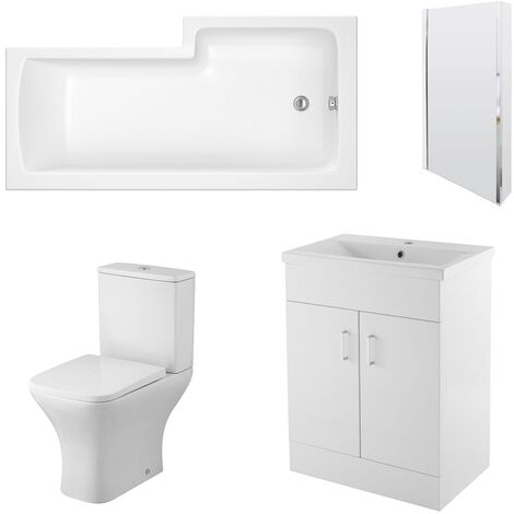 Nuie Ava Complete Furniture Suite with 600mm Vanity Unit and L-Shaped Shower Bath 1700mm LH
