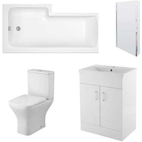 Nuie Ava Complete Furniture Suite with 600mm Vanity Unit and L-Shaped Shower Bath 1700mm RH