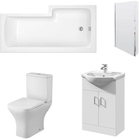 Nuie Ava Complete Furniture Suite with Vanity Unit and L-Shaped Shower Bath 1700mm LH