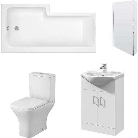 Nuie Ava Complete Furniture Suite with Vanity Unit and L-Shaped Shower Bath 1700mm RH