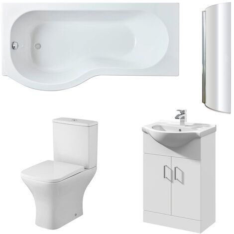Nuie Ava Complete Furniture Suite with Vanity Unit and P-Shaped Shower Bath 1700mm LH