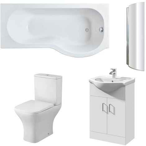 Nuie Ava Complete Furniture Suite with Vanity Unit and P-Shaped Shower Bath 1700mm RH