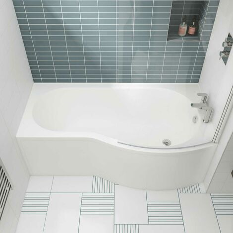 Nuie B-Shaped Shower Bath 1700mm x 735mm/900mm - Right Handed