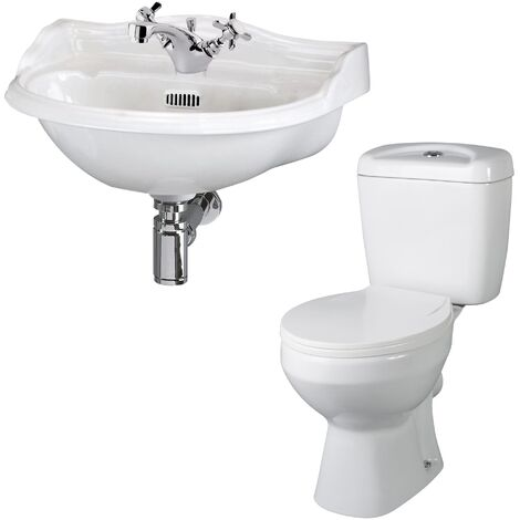 Nuie Bathroom Suite Close Coupled Toilet and Basin 500mm 1 Tap Hole