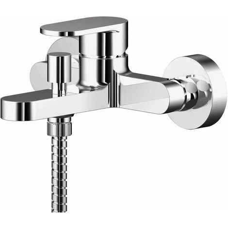 Nuie Binsey Wall Mounted Bath Shower Mixer Tap with Shower Kit - Chrome