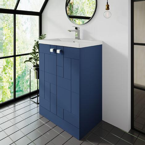 """main image of """"Nuie Blocks Floor Standing 2-Door Vanity Unit with Basin-3 600mm Wide - Satin Blue"""""""