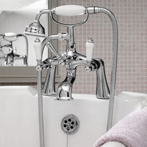 Nuie Bloomsbury Bath Shower Mixer Tap Pillar Mounted - Chrome