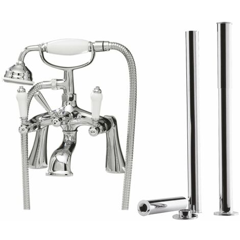 Nuie Bloomsbury Bath Shower Mixer Tap with Leg Set - Chrome