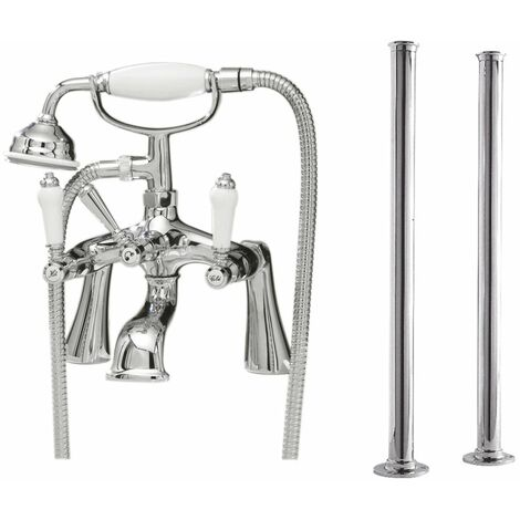 Nuie Bloomsbury Bath Shower Mixer Tap with Standpipes - Chrome